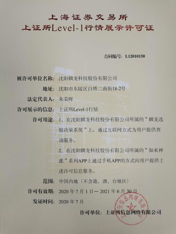 上证所Level-1行情经营许可证